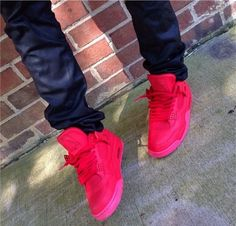 All red Air Jordan 4's. #sneakers