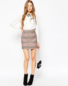 ASOS Premium Boucle Stripe Mini Skirt Co-ord