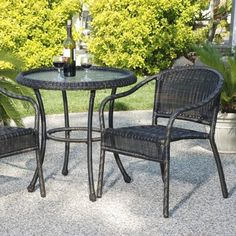 Outdoor Wicker Bistro Table & Chair - Weatherproof wicker chair & table are perfect for smaller spaces. Looks like real wicker, but this patio furniture is actua Outdoor Wicker Patio Furniture, Fire Pit Furniture, Patio Furniture Sets, Outdoor Rooms, Outdoor Decor, Furniture Ideas, Furniture Design, Outdoor Patios, Rattan Furniture
