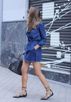 Denim Skirt + Shirt + Lace Up Flats - Zara, Saint Laurent Bag Ballet Flats Outfit, Lace Up Ballet Flats, Denim Fashion, Look Fashion, Fashion Ideas, Chic Outfits, Trendy Outfits, Tie Up Flats, Denim Flats