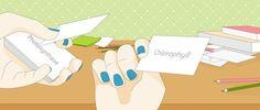 Lernmythen: Wie wiederhole ich sinnvoll?  Mehr dazu liest du hier: http://magazin.sofatutor.com/schueler/2016/05/04/lernmythen-wie-wiederhole-ich-sinnvoll/ Illustration: Lernen mit Karten, Hände mit Nagellack