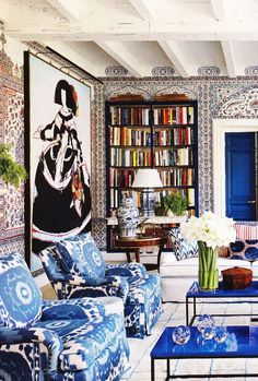 I love Miles Redd use of color and eclectic designs. One of these days he is coming to redecorate my home :)