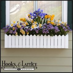 """Give life to all your budding container garden ideas in a Picket Fence Window Box. As a part of our """"Premier"""" line of flower planters, this container features rot-proof cellular PVC construction with a matte white finish. Balcony Planters, Balcony Flowers, Window Box Flowers, Window Planter Boxes, Flower Planters, Flower Pots, Diy Flower Boxes, Garden Windows, Garden Boxes"""