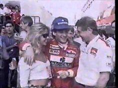 Ayrton Senna e Adriane Galisteu, após vitória no GP de Monte Carlo, 1993. Com a equipe McLaren.