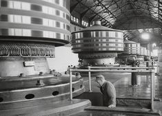 A 1953 photo of the original Westinghouse generators at the Niagara Falls power plant. Tesla and Westinghouse built the plant in 1895. From the Kenneth Swezey Papers in the Archives Center of the American History Museum.