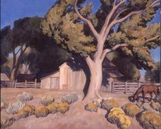 """In """"Old Homesite,"""" Maynard Dixon depicted an idyllic scene of a tree-shaded property with fences and a horse bathed in bright sunlight. It is a scene that evokes the artist's property in southern Utah. Brigham Young University Museum of Art, Landscape Art, Landscape Paintings, Landscapes, Maynard Dixon, Southwest Art, Great Paintings, Art For Art Sake, Western Art, American Artists"""