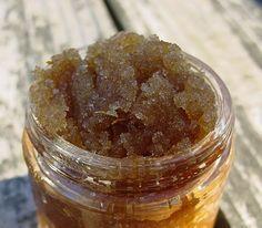 DIY Honey Sugar Scrub; 1 1/2 cup brown sugar, 1/2 cup honey, 1/4 cup coconut oil