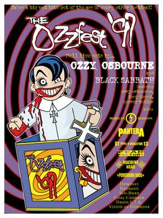 This poster was created by Gregg Gordon / GIGART for Ozzy Osbourne's Ozzfest in 1997. This festival had these following bands: Ozzy Osbourne and Black Sabbath featuring Tony Iommi, Geezer Butler, and Ozzy, also Marilyn Manson, Pantera, Type O Negative, Fear Factory, Machine Head, Powerman 5000, Downset, Neurosis, Slo-Burn, Coal Chamber, Drain S.T.A. and Vision of Disorder.  Size: 18 x 24 inch / Litho