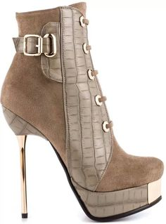 Tan and Leather Stiletto Boot