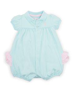 Ruffled Cotton Shortall - Baby Girl One-Pieces - RalphLauren.com