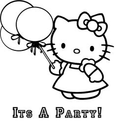 Its a party! Hello Kitty coloring picture