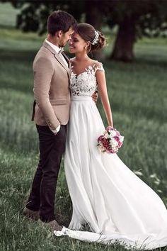 Lovely Off White Lace Appliques Cap Sleeves Long Chiffon Beach Wedding Dresses 2018 OK827 #weddingdress