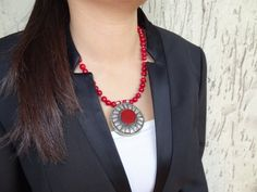 Red Coral Necklace Afghan Silver Statement by sevinchjewelry