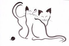 DESSIN Chats animaux encre de chine expressionnisme, Exp - Chat expressionniste