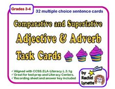 Adjective & Adverb Task Cards: Comparative and Superlative! CCSS aligned. $