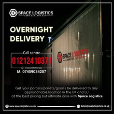 Space Logistics' overnight delivery helps you grow your business day and night. Get safe and on-time distributions of your pallets/parcels in the UK and EU at very competing rates. 👉 Call us to book on 📲 01212410371 or 📲 07459034207. Overnight Delivery, Uk Europe, Growing Your Business, About Uk, Pallets, You Got This, Space, Day, Book