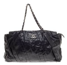 Pre-Owned Chanel Twisted Tote in Glazed Calfskin East West $1,675