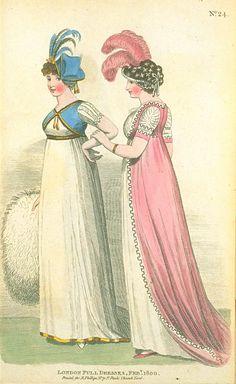London Full Dresses, February 1800, Fashions of London & Paris