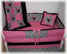 Minnie Mouse Custom Liqued Crib Baby Bedding For