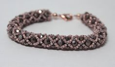 Beaded Crystal Bracelet Rose and Gunmetal by JPAdornments on Etsy