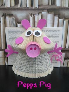 Book Folding Peppa Pig Book Art Tutorial--could potentially be adapted with different decorations. Book Folding Patterns Free, Book Folding Templates, Paper Folding, Old Book Crafts, Book Page Crafts, Folded Book Art, Paper Book, Paper Art, Peppa Pig Books