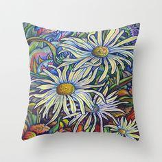 Wild Daisies ~ Autumn Breeze Throw Pillow by Morgan Ralston