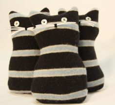 Love these naughty kitties.---Recycled Striped Wool Sweaters Felted Kitty Meows Jail House Rock