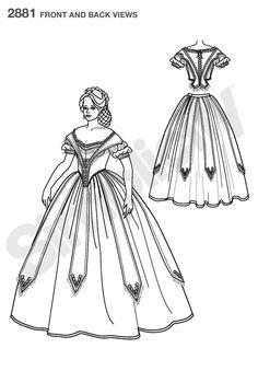 Womens Civil War Costume Sewing Pattern 2881 Simplicity