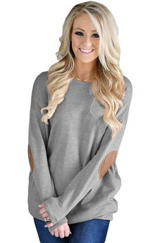 Gray Elbow Patch Sweatshirt only US$22.08 ,free shipping to worldwide!