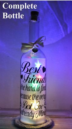 Wine Bottle Light, Light Up Star Bottle Gift, Best Friends are hard to find because the Best One is already mine. Birthday Gift for Friend Wine Bottle Gift, Glass Bottle Crafts, Diy Bottle, Bottle Art, Light Up Bottles, Bottle Lights, Bottles And Jars, Glass Bottles, Liquor Bottles