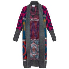 Tak. Ori Long intarsia-knit cardigan (50450 RSD) ❤ liked on Polyvore featuring tops, cardigans, multi, knit top, long tops, long knit tops, geometric print top and geometric print cardigan