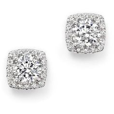 Certified Diamond Halo Stud Earrings in 14K White Gold, 2.30 ct. t.w. (33,480 CAD) ❤ liked on Polyvore featuring jewelry, earrings, white, bloomingdales earrings, pave jewelry, 14k stud earrings, pave earrings and white gold jewelry