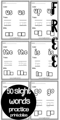 sight words us up the is go no writing practice for preschool and kindergarten. Color the word, trace it and then write it in the blocks. Sight Word Worksheets, Sight Word Games, Kindergarten Worksheets, Sight Words, Word Board, 50 Words, High Frequency Words, Writing Practice, Anchor Charts