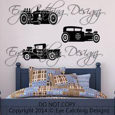 Rat Rod Hot Rod Cars Truck Transportation Room Skull Wall Decal Home Decor Vinyl Art Bedding Nursery