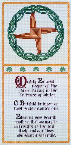 "Brighid's Blessing Cross Stitch Pattern - Venerated by Christians and pagans alike, the goddess/saint Brighid is associated with many aspects of Irish life, including fire, poetry, magic, healing, smithcraft, and more. Below the cross of Saint Brighid, the text reads: ""Mighty Brighid, keeper of the flame, blazing in the darkness of winter. O Brighid, bringer of the light, healer, exalted one. Bless us now hearth mother, that we may be as fruitful as the soil itself, and our lives abundant…"