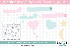 Download Wedding hot air balloon clipart, love clipart, valentine day today! #lapeticrafter #hotairballoon #valentinesday #loveclipart #instantdownload #designbundles Hot Air Balloon Clipart, Baby Shower Clipart, Clips, Illustrations, Religious Art, Design Bundles, School Design, Pink And Green, Valentines Day