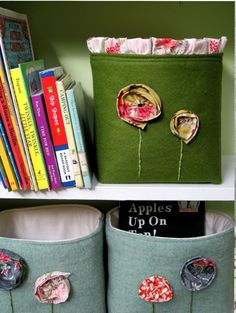 Adorable fabric storage bins  I've been meaning to make these. Maybe sooner than later.
