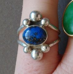 Southwestern American Indian Sterling Silver Lapis Lazuli Navajo Ring Awesome