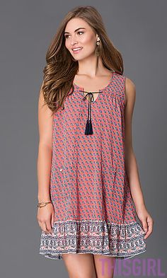 SHORT SLEEVELESS PRINT SHIFT DRESS BY AS U WISH