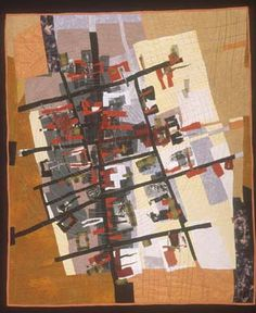 City Grid II map art quilt by Valerie S. Goodwin