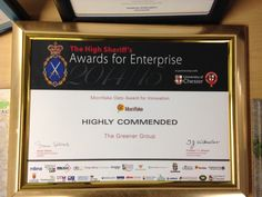 Our Highly Commended certificate for the Mornflake Oats award for innovation at the High Sheriff Awards for Enterprise