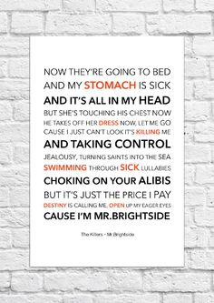 The Killers - Mr.Brightside - Lyrical Song Art Poster