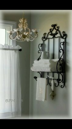 BackPorchMusings photos of master bath. Love the accessories and the chandelier makeover. Wall color is SW Front Porch. BackPorchMusings photos of master bath. Love the accessories and the chandelier makeover. Wall color is SW Front Porch. Chandelier Makeover, Wrought Iron Decor, Iron Furniture, Accent Furniture, Furniture Makeover, White Rooms, Home Accessories, Room Decor, Interior Design