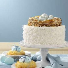 Incrediable Coconut Cake - going to try this recipe out on Nick's coworkers, minus the birds nest topper :)