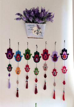 Set of 7 Unique Hamsa.Felt Wall Hanging Decor . Evil eye beads .. Set of  7 Felt wall hanging. h. 40 cm. w. 9 cm. 3 mm thick