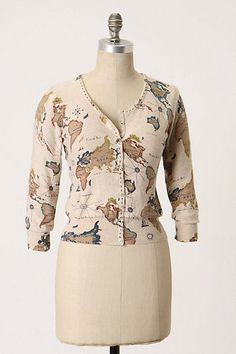 """GUINEVERE Anthropologie """"Cartography Cardigan"""" Map Sweater Top"""