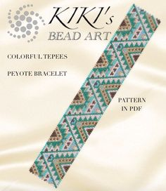 Peyote Pattern for bracelet Colorful tepees by KikisBeadArts