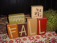 HAPPY FALL Pumpkin Wood Sign Shelf Sitter Blocks Primitive Country Rustic Holiday Seasonal Home Decor. $30.95, via Etsy.