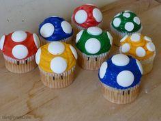 Super Mario Mushroom Cupcakes -Nerdy Cooking via The Nifty Nerd