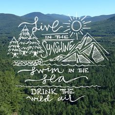 Live in the Sunshine, Swim in the Sea, Drink the Wild Air // hand lettering by Brittany Fabello of Sea of Atlas, quote from Ralph Waldo Emerson The Words, Summer Quotes, Adventure Quotes, Nature Quotes, Forest Quotes, Travel Quotes, Beautiful Words, Inspire Me, Hand Lettering